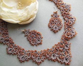 Mothers day necklace, Lace jewelry set, Mothers day gift, tatting collar necklaces, Victorian style, gift for mother