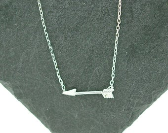 925 Sterling Silver Tiny Arrow Necklace, Arrow to Your Heart, Soul Sisters Best Friends Necklace
