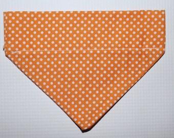Orange Polka Dot Over The Collar Dog Bandana