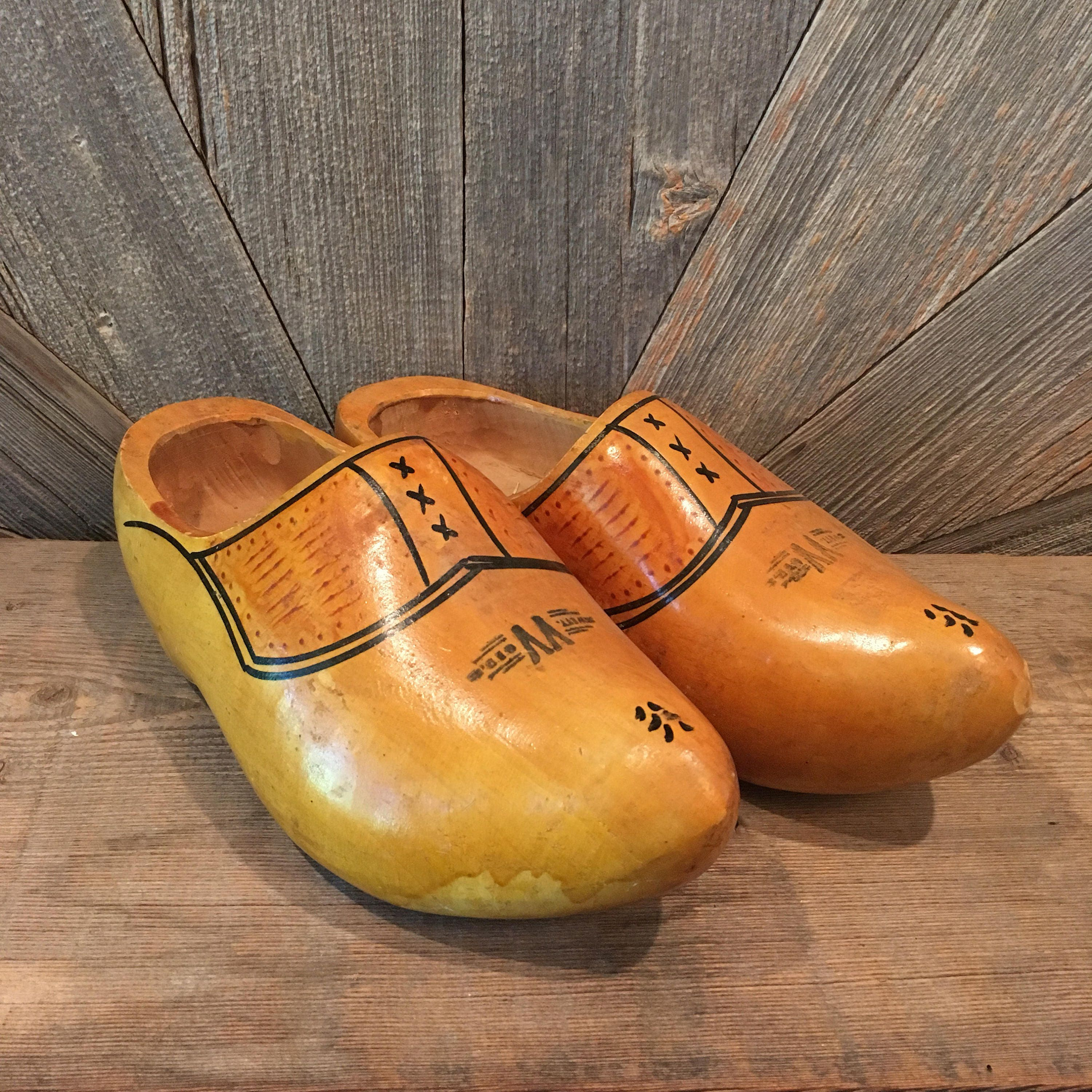 vintage wooden shoes dutch wooden clogs with wood burn and