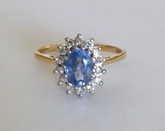 18ct Gold London Blue Topaz & Diamond Cluster Ring