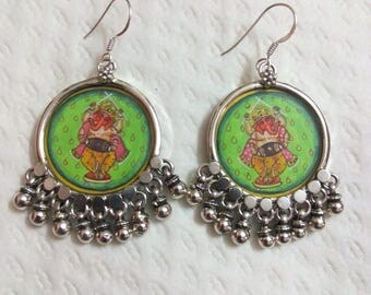 Handmade Hand Painted 92.5 Sterling Silver Miniature  Painting Hindu Deity Ganesha Beautiful Glass Framed  Earring.