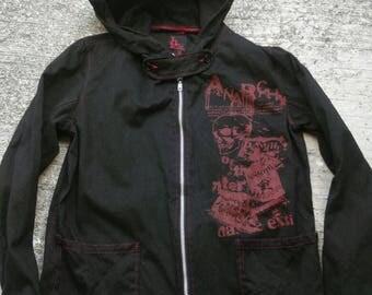 RARE ANARCHY Jacket Hooded H.Naoto H.Anarchy Bones Punk rock Harajuku Gothic Style Coat