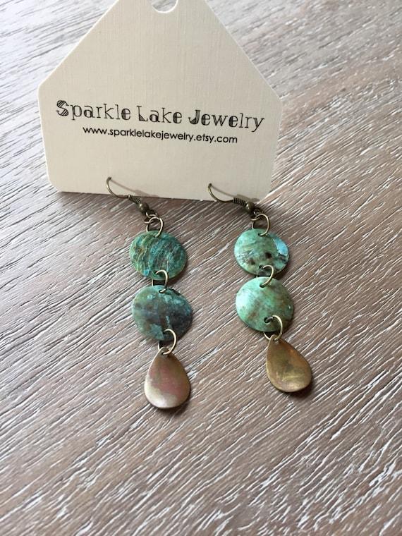 Boho Mussel shell Earrings - Seafoam Green Shells with Dainty Brass Moondrops