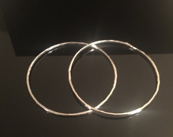 Lightweight .99 Hammered Fine Silver Bangle