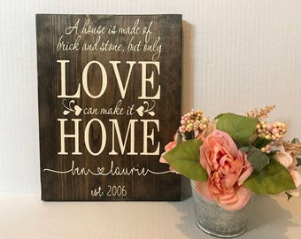 A House is Made of Brick and Stone but Only Love Can Make it Home Sign