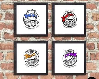 Heroes In a Half Shell! Turtles, TMNT, Ninja Turtles, Teenage Mutant Ninja Turtles, Illustration, TMNT Print, Tattoos, Tattoo, Turtle Power