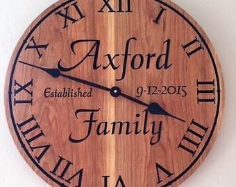 Custom Engraved Wood Clock