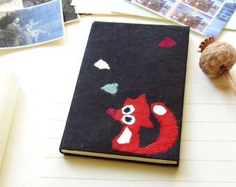 "Address book ""Fox in the leaves ' Lokta black"