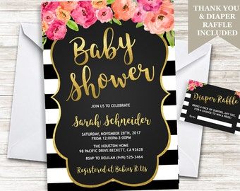 Baby Shower Invitation Invite Floral Watercolor Stripes Black Gold White Digital Diaper Raffle Included Personalized