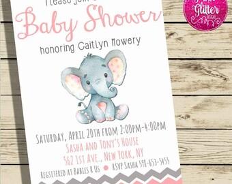 Elephant Baby Shower, Elephant Shower Invitation,  Jungle Shower Invite,  Jungle Shower Invitation, Jungle, Elephant,  Baby Girl Shower