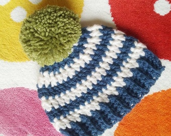 Striped crochet bobble hat