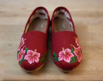 Hibiscus Flower Custom TOMS Shoes- Hand-Painted