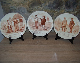 Realistic plate talking French deco Sarreguemines 1875