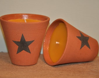 100% Pure Beeswax Candle Flower Pot - Star Design