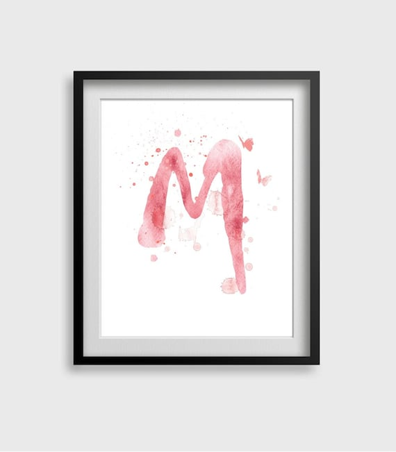 Letter M Watercolor Art Print Home Wall Décor Letter By