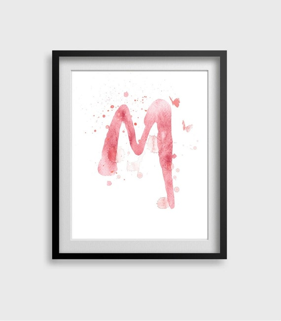 Letter m watercolor art print home wall d cor letter by for Party wall letter template