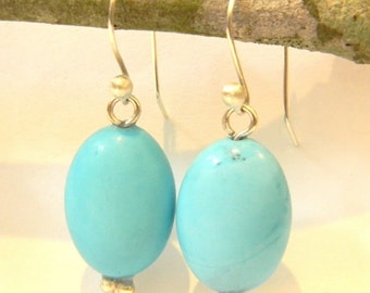 Solid Sterling Silver Earrings 925 with Turquoise Stone