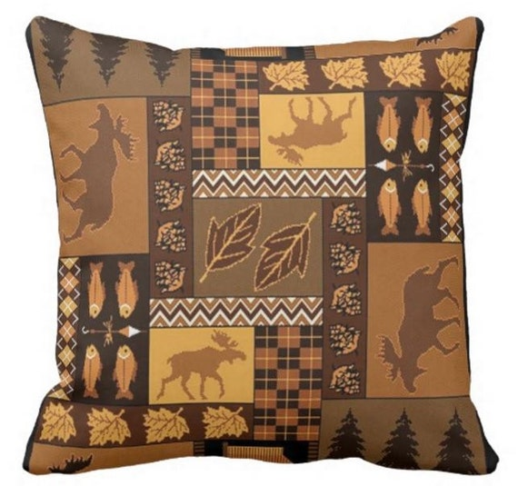 Throw Pillows Meaning : Lodge Pillow Bear Pillowcase Decorative Throw by DawsonsDesignCo