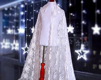 Bridal long cape, classic bridal cape, wedding dress cape, dress cover up, unique lace capes, embroidery lace wrap, wedding kimono cape