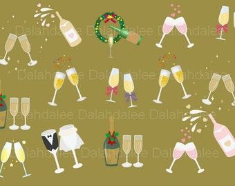 Champagne glass clip art, Champagne bottle clip art, digital party clip art, party clipart, digital clip art, instant download