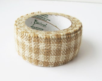 "5 Yards Burlap Ribbon Wide 2"" Checkered Ribbon White Soft Brown/ Ivory"