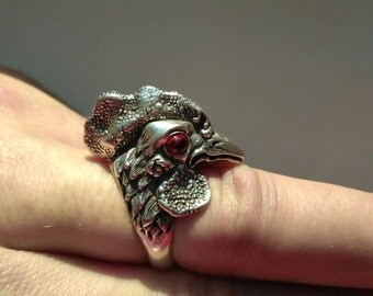 Rooster cock silver ring