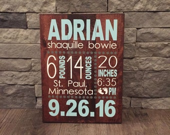 Birth Stats Wood Sign, Birth Announcement Sign, Baby Wooden Sign, Birth Sign, Baby Birth Wooden Sign, Baby Gift, Baptism Gift,