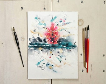 Abstract watercolour | Watercolour painting | Autumn watercolor, gallery wall art, ink, home decor, living room, gift idea, abstract tree