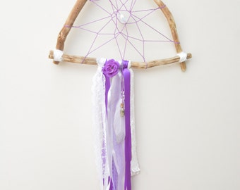Purple Triangle Dream Catcher with Mini Charm Bottle, Lace, Feather, Flower