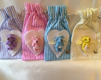 Fragranced pull string pouch with cute coloured  angel bear decoration