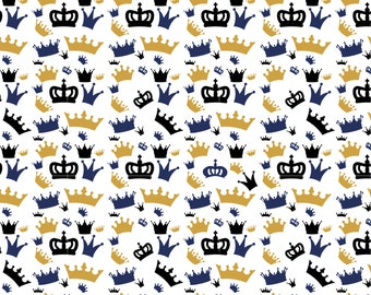 Navy Gold Black Royal Crown. Prince. Crowns. King - Fabric by the Yard