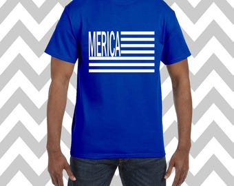 Merica Unisex T-Shirt Fourth Of July Shirt USA Tee Independence Day Patriotic Shirt Drinking Tee Memorial Day Funny Drinking Shirt