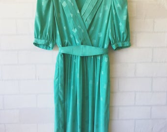 CLEARANCE- 30% OFF ~ Vintage Blue Summer Dress Vintage Liz Clairborne Dress Vintage Belted Wrap Dress Vintage Turquoise Dress