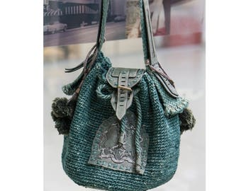 Emerald green Crochet knitted leather Bucket Shoulder Bag with Pom Poms and Unicorns handmade