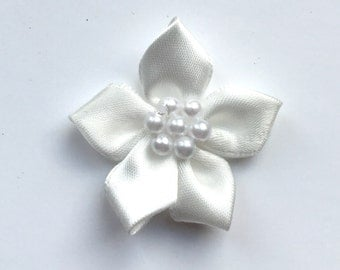 10, satin ribbon flowers, pearl ribbon flowers, ivory ribbon flowers, ivory ribbon rosettes, satin ribbon rosettes, sewing appliques, craft