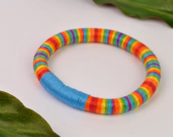 BANGLE BRACELET - rope bracelet, textile bangle, statement, multicolor, colorful bracelet, rainbow bangle, bright colors, fiber bracelet