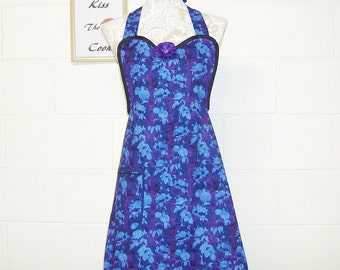 Women's Apron / Purple Bloom Tonal Blue From Two Daughters traditional designs / Stunning Party Hostess Apron / Women's Gift  / #B61