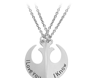 Star Wars Rebel Alliance Lapel Pin pendant I love you i know necklace matching couples necklace couples jewelry day gift