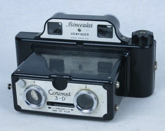 CORONET 3D stereo camera, black bakelite body, use 127 film, EXC+, ca. 1953