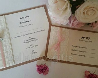 Lace Wedding Invitations, vintage lace style invites, lace and rose, rustic wedding day, shabby chic invitations