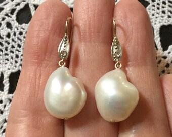 best price-XIX ANTIQUE Huge PEARL Diamond Earrings - Gold and Silver - Genuine old cut Diamond - unique Baroque Pearl - unusual Earrings