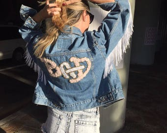 Levi's Vintage Customized Denim Jacket with Fringes/ Women's denim jacket/ Denim Jacket with Patches/Fringes Denim Jacket/Patched Jean Vest