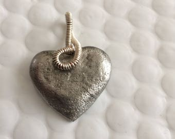 Heart hammered pewter - unique piece