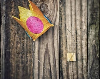 Princess Peach Crown, Birthday Crown, Smash Cake Prop, First Birthday Crown