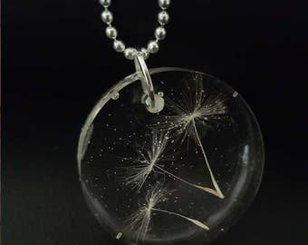 Dandelion Pendant Necklace, Wish Necklace, Dandelion Seeds Resin Pendant, Bridesmaid Gift, Wedding Gift, 925 Sterling Silver Chain