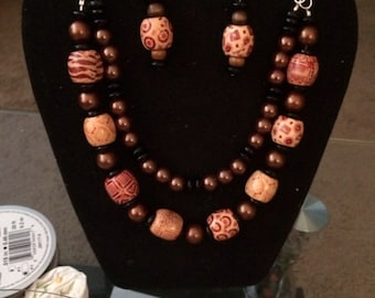 Double Strand Wooden Tribal Necklace Set