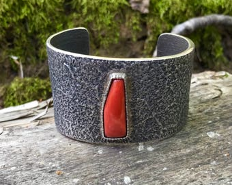 Tufa Cast Cuff Bracelet with Central Red Coral