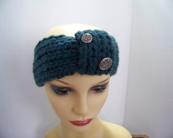 Headband (teal) with silver buttons #3