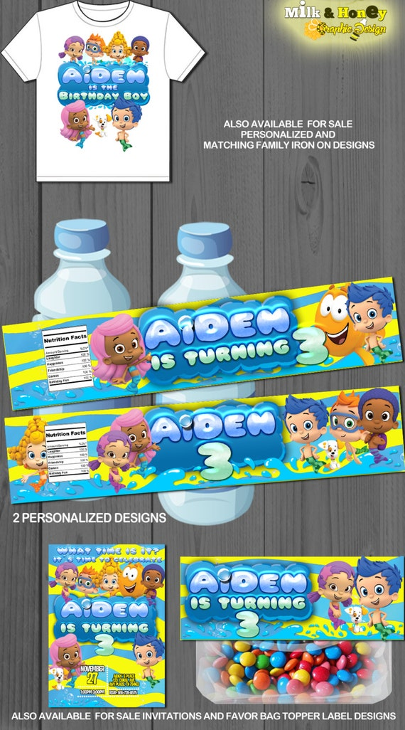 bubble bottle label template - bubble guppies personalized water bottle label